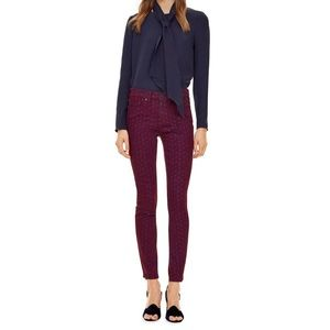 Tory Burch Red printed skinny ankle jean